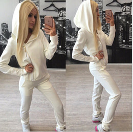 Wholesale Motorcycle Hooded Sweatshirts - 2017 New Spring Causal Two Piece Set Women Inclined Zipper Hoodies Sweatshirt Sporting Suits Set Tracksuits Sportwear Plus Size