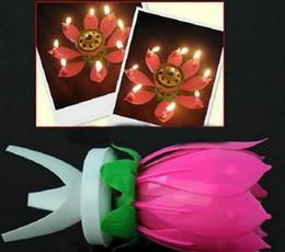 bougies sans flammes en ivoire Promotion Lotus Fleur Musique Bougie Belle Fleur Lotus Fleur Bougie D'anniversaire Partie Gâteau Musique Sparkle Gâteau Topper Bougie Tournante Livraison Gratuite