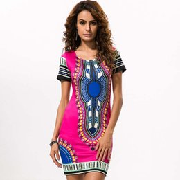 Wholesale Woman Tribal Shorts - Women Traditional African Print Dashiki Bodycon Short Sleeve Dress Colorful Tribal Pattern African Dresses For Women 2017 Dress