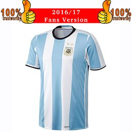 Wholesale 2017 Argentina Soccer Jersey Argentina Home Blue Football Shirt Messi Aguero Di Maria Jerseys Thai Quality