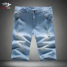 Wholesale Korean Men Casual Jeans - Wholesale-summer 2016 men's shorts fashion denim shorts Korean Slim pants casual hole Jeans shorts plus size 28-38 yards Free shipping