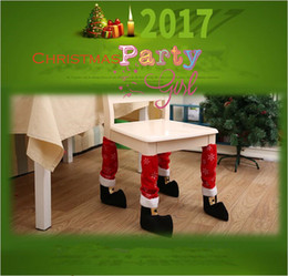 Wholesale Fabric Chair Covers - Christmas Chair Leg Foot Cover Table Christmas Decoration for Party Dinner Red Desk Cover Decor 40 *21cm YYA667