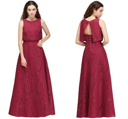 Wholesale Formal Corset Two Piece Gown - Burgundy New Designer Two Pieces Long Prom Dresses 2018 Full Lace Corset Back A Line Cheap Long Evening Gowns Vintage Formal Wear CPS706