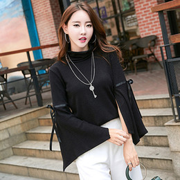 Wholesale Cheap Pullovers For Women - Cheap Long Sleeve Casual Womens Spring Autumn Knitwear High Collar Trumpet Sleeve Sweater for Women Free Shipping