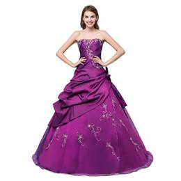 Vestido longo de tafetá cor de vinho on-line-Borgonha Roxo Azul Royal vestidos de baile Bola Vestido De Tafetá Organza baile de finalistas longo Bordado baile de formatura Lace Up Barato Prom Vestido Longo