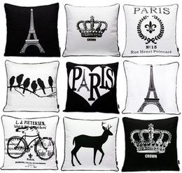 Wholesale Mustache Gold - Paris Eiffel Tower Crown Cushion Cover Nordic Modern Black And White Beard Mustache Cushion Covers Retro Bike Bicycle Pattern Pillow Case