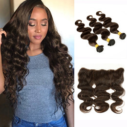 Les brown en Ligne-3 paquets avec dentelle Frontal Body Wave Raw Virgin Indian Cheveux humains Weave Brown foncé Ear to Ear Frontal Brazilian Brazilian peru Hair Bundles