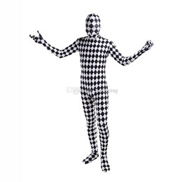 Wholesale Unitard Costume Sexy - Black and White Lattice Lycra Cosplay Costumes Unitard Spandex Full Body Zentai Catsuit For Halloween