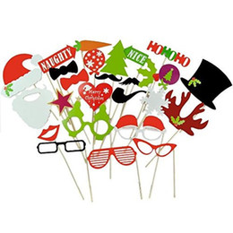 Wholesale Photobooth Props Christmas - Wholesale-27pcs set Xmas Photo Booth Props Christmas Funny Hat Tree Gifts PhotoBooth Supplies For Home