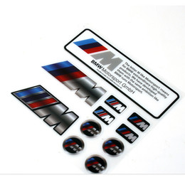 Wholesale Bmw M5 Logo - 12*12 cm bmw Styling Pvc Sticker 11-IN-1 M logo sricker for M3 M4 M5 with PP bag Package