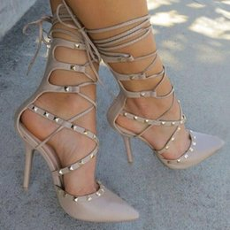Wholesale Ladies New Style Sandal - Roman Sandals Women Pumps European New Style Booties Ladies Sexy Hollow Cross Lace Up Rivets Stiletto High Heels Shoes Woman
