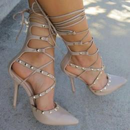 Wholesale Roman Sandals Style Shoes - Roman Sandals Women Pumps European New Style Booties Ladies Sexy Hollow Cross Lace Up Rivets Stiletto High Heels Shoes Woman