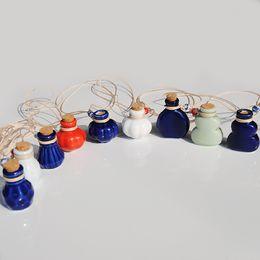 Wholesale Ceramic Slides - Blue Green White Mini Ceramic Vials Perfume Bottle Wish Bottle Pendant Necklace Girls Favor Birthday Gift 10pcs lot P085