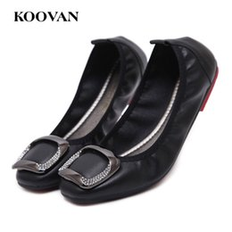 Wholesale Office Dress Pregnant - Big Size Women Work Pregnant Shoe Casual Rhinestone Flat Loafer Koovan 2017 New Mother Pea Shoes Shallow Mouth W446