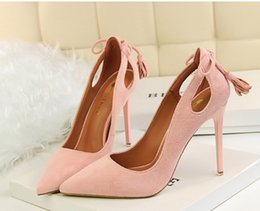 Wholesale Day After Wedding Dress - Spring Autumn Sexy Was thin Shallow mouth women pumps Pointed Suede After the hollow Bow tie tassel 10 CM Fine high heel shoes