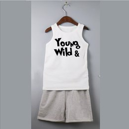 Wholesale Baby Activewear - children suits kids sets baby boys sleeveless t-shirts sport activewear summer tank tops sets cotton branch shorts set babies boys outfits