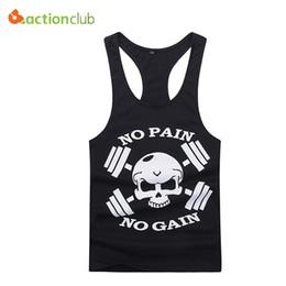 Wholesale Sexy Clothing Models - Wholesale- Men Professional Models Tank Tops Strong Man No Pain No Gain Vest Man's Cotton Casual Skull Tank Clothing
