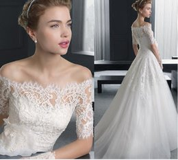 Wholesale Short Sleeved Ball Wedding Gowns - 2016 Newest Charming Half Sleeve Ball Gown Wedding Dresses Long-sleeved Slim Princess Bride Small Tail Cheap Wedding Gowns