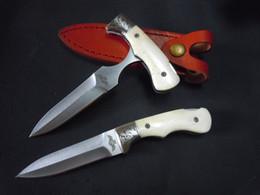 Wholesale Leather Tees - Wholesale New The One Mini folding tee handle white push knife 5Cr15 58HRC Satin Blade EDC Pocket Knife with Leather Sheath
