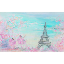 Wholesale Eiffel Tower Backgrounds - Baby Newborn Photography Backdrops Digital Painted Pink Flowers Sky Eiffel Tower Backdrop Dancing Children Kids Portrait Studio Background