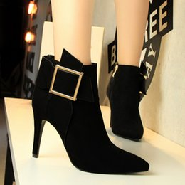 Wholesale Cowboys Hot Sexy - Hot Sexy Nightclubs Lady Dress Shoes Boot Women High Heels Suede Festival Party Wedding Shoes Slim Formal Pumps Ankle Boots Loafers W16S145