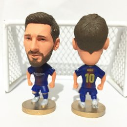Wholesale Blue Statue - Soccerwe Club Player La Liga 2018 Season BC Lionel Messi Suarez Iniesta Figure 6.5 cm Height Football Doll Collections Blue Red Color
