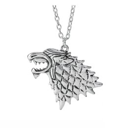 Wholesale Head Games Movie - 12pcs lot Game of Thrones jewelry Necklace House Stark Movie necklace Winter Is Coming 3D wolf head pendant badg Wolf