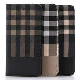 Wholesale Leather Magnetic Card Holders - Case For iphone 7 7plus iphone 5s 6s Luxury Magnetic Check Leather Flip Wallet Photoslot Credit Card Holder for 6s plus case