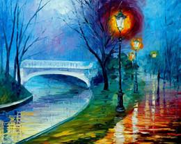 Wholesale Colorful Bridge - unframed Painting Home Decorative wall Art Paint on Canvas leonid afremov Colorful tree Bridge