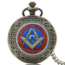 Wholesale Wholesale Masonic Watches - Wholesale-New Arrival Masonic Freemason Freemasonry Pocket Watch Chain Men Women Quartz Watches Best Gift for Friend P1437