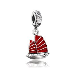 Wholesale 925 Bracelet Chinese - Authentic 925 Silver Beads Chinese Junk Ship Dangle Charm, Red Enamel & Clear CZ Fits European Pandora Style Jewelry Bracelets & Necklace