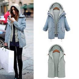 Wholesale Denim Outwear Women - Women jacket Two Piece Set Denim Jacket Hooded Plus Size Oversized Casual Women Coat Outwear Light Blue free shipping