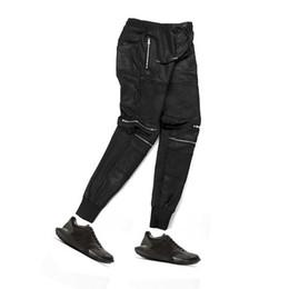 Wholesale Mens Trousers Hip Hop - Wholesale- korean fashion hip hop men urban clothing kanye west slim black knee zipper leather pants slp biker trousers mens joggers