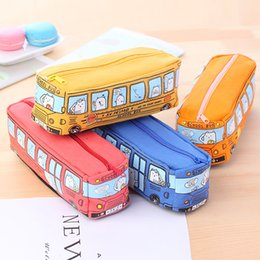 Wholesale Stationery For Boys - Children Pencil Case Cartoon Bus Car Stationery Bag Cute Animals Canvas Pencil Bags For Boys Girls School Supplies Gifts Free DHL 208