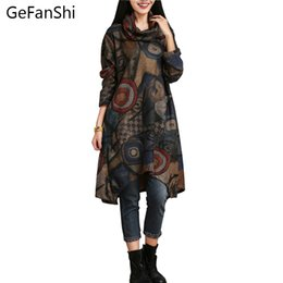 Wholesale Basic Dresses - Wholesale- New Autumn Winter Fashion National Style Vintage Print Long Sleeve Loose Comfortable Women Casual Dress Plus Size Basic Dress