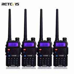rádio portátil de banda dupla uhf vhf Desconto Atacado-4 pcs Two Way Rádio Walkie Talkie Retevis RT-5R 5W 128CH VHF UHF Dual Band Rádio FM VOX Scan Estação de Rádio Portátil Amador