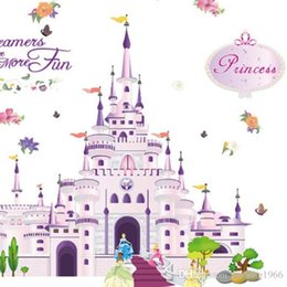 Wholesale Mural Princess - Castle Wall Sticker For Girl Princess Room Bedroom Art Mural Cartoon Decoration Water Proof Home Decor Decal 7 2db F R