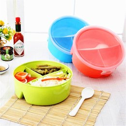 Wholesale Food Grade Plastic Containers - 1 pc Round Shape Lunch Box Food-Grade Plastic Food Storage Container Picnic Lunch Box With Spoon Microwave Cutlery Set