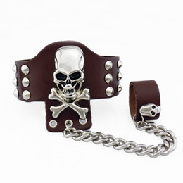 Wholesale Movie Shows - Genuine Leather Rivet+Skeleton Cuff Bracelet Personality Punk Leather Pulseiras For Hip Hop Nightclub Party Show Black Brown