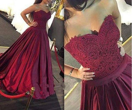 Wholesale Vintage Cocktail Dresses Sale - 2017 sexy Burgundy Evening Dresses Ball Gown Sweetheart Formal Dresses Evening Wear Party Dresses Custom Made evening gowns cheap sale