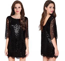 Wholesale Cheap Casual Winter Mini Dresses - 2017 Cheap New Little Black Party Dresses Jewel Sheer Ruffles Sequin Half Sleeves US2-16 Backless Casual Formal Evening Gowns CPS482