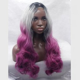 Wholesale Silver Curly Wig - Ombre Grey Body wave Synthetic Wigs Glueless Long Natural Black Silver Grey Purple Heat Resistant Hair Synthetic Lace Front Wig