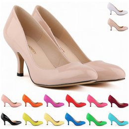 Wholesale Yellow Kitten Heels Wedding - Europe Style Fashion LADIES MID HEELS POINTED CORSET STYLE Work Pumps COURT Shoes US SIZE 4 5 6 7 8 9 10 11 D0012