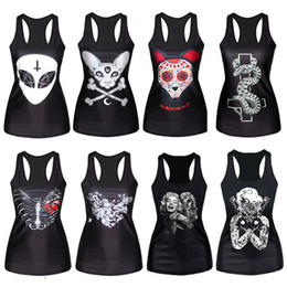 Wholesale Cheap Gothic Tops - Wholesale- Cheap&High Quality Gothic Punk Tops Vest Women Pattern Print Clubwear Sleeveless T-Shirt