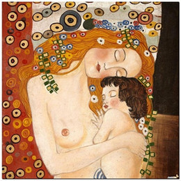 Wholesale Stunning Baby - Framed Stunning Classic Art Mother and Baby by Gustav Klimt,Genuine Hand Painted Portrait Art oil Painting On Thick Canvas Multi Sizes KL003