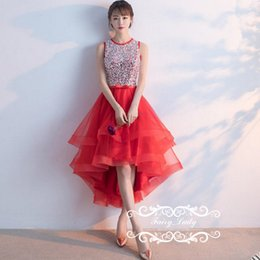 Wholesale Stylish Dresses For Girls - Stylish Rhinestone Red High Low Homecoming Dresses Prom For Junior Girls Sheer Back A Line Major Beading Sequins Party Dress Gowns Cheap