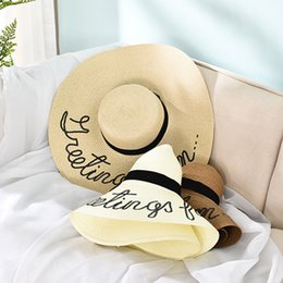 Wholesale Grass Shades - Fashion Sunhat Summer Large Eaves Sequins Letter Straw Hat Folding Beach Cap Sun Hat Shade Hat Wholesale