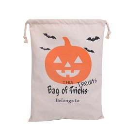 Wholesale Canvas Bag Size - 20pcs 100% Cotton Canvas Hand Bag Halloween Sack Halloween Gifts Bags Candy Bags 6 Styles Halloween Sack For Children