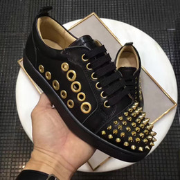 Wholesale Perfect Button - Perfect Quality!! Spikes Sneaker Shoes Luxurious Brand Red Bottoms Men & Women Casual Walking Shoes,Lace Up Louisflats Trainer With Box