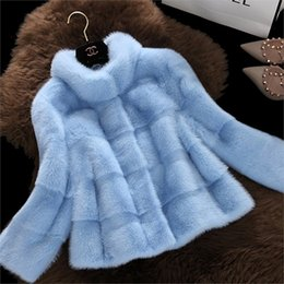 Wholesale Marten Collars - New Fashion Autumn Winter Imitation Mink Fur Plush Jacket Short Paragraph Female Collar Whole Marten Slim Stripe Warm Coat Plus Size Women J